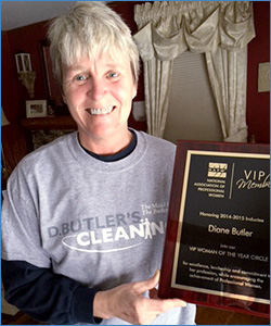 Diane with her VIP plaque from the National Association of Professional Women